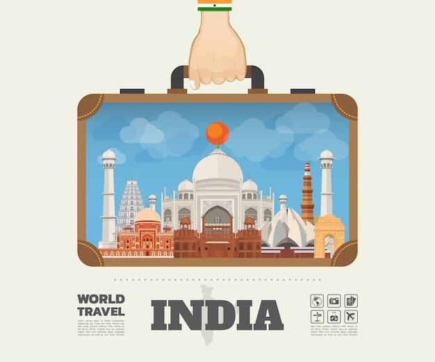 Main portant le sac infographique india landmark global travel and journey. vector flat design template.vector / illustration.can peut être utilisé pour votre bannière, entreprise, éducation, site web ou toute œuvre d'art Vecteur Premium