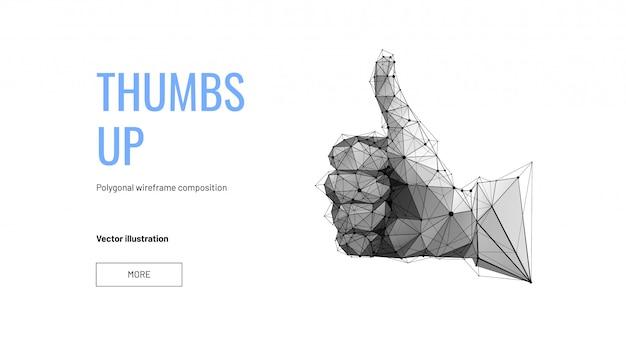 Main avec le pouce levé ou comme. style filaire à faible polygone. page web de concept pour le vote Vecteur Premium