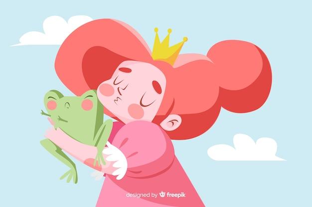 Main, princesse, embrasser, a, grenouille Vecteur gratuit