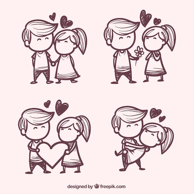 Main quelques dessiné dans l'amour pack Vecteur gratuit