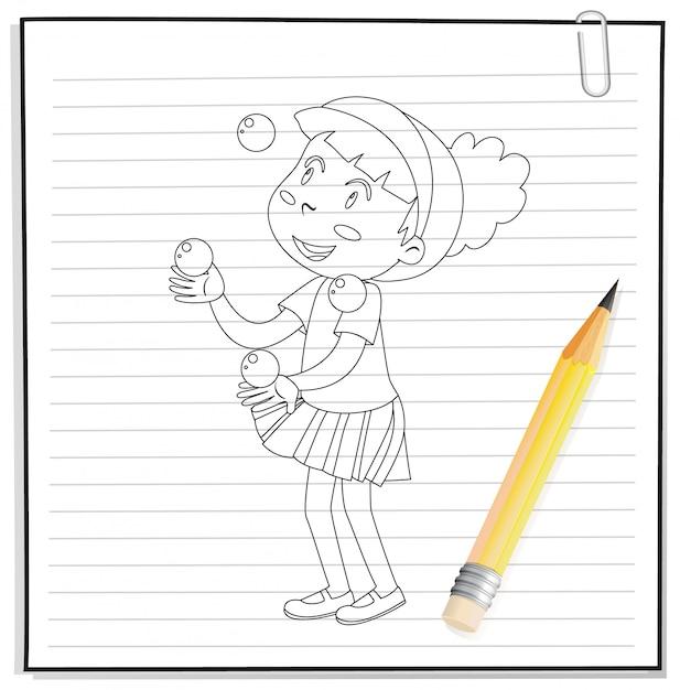 Main Qui écrit Une Fille Jouant Avec Beaucoup De Contours De Balles Vecteur gratuit