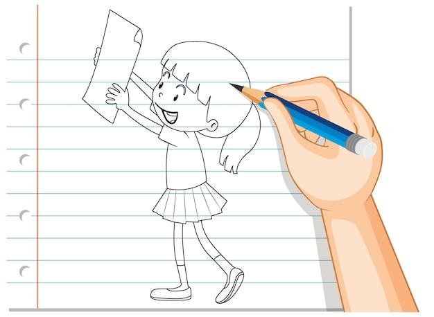 Main Qui écrit Une Fille Tenant Un Contour De Papier Vecteur gratuit