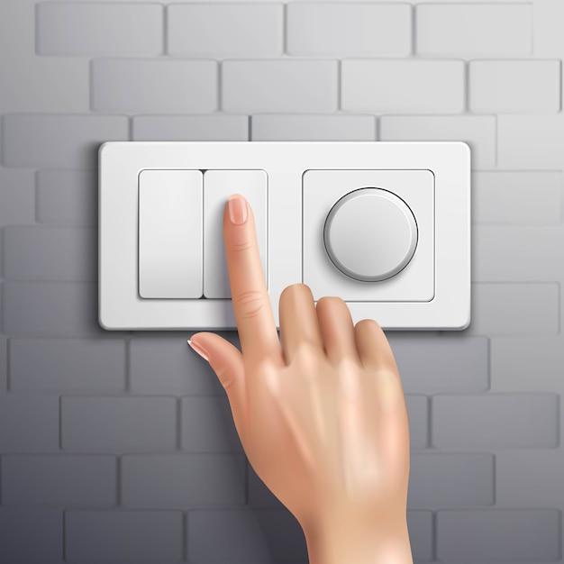 Main Réaliste Appuyant Sur Le Commutateur Avec L'index Sur Le Mur De Briques Grises Vecteur gratuit