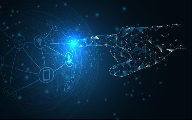 Main de réseau mondial touche le futur concept de vecteur Vecteur Premium