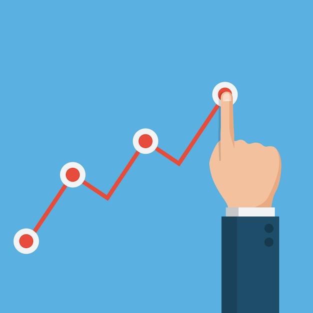 Main retient la tenue de la flèche du graphique, graphique de la croissance financière Vecteur Premium