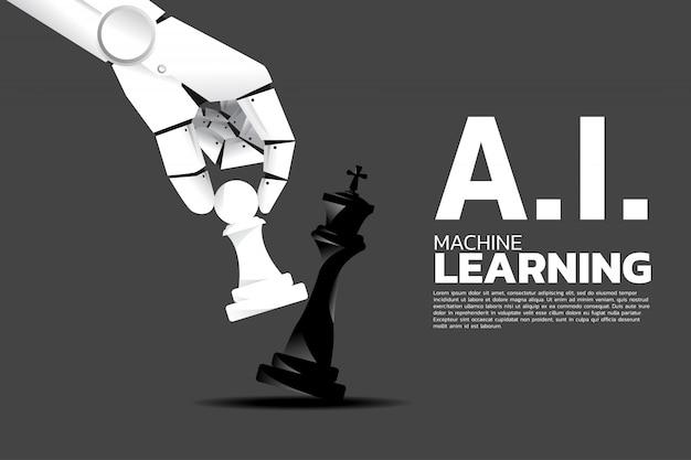 Une main robotique déplace un jeu d'échecs sur un roi d'échec. Vecteur Premium