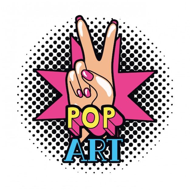 Main avec signe de la paix et amour pop art Vecteur Premium
