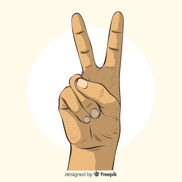 Main signe de paix dessiné à la main Vecteur gratuit