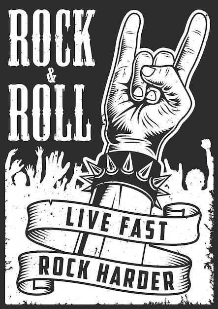 Main En Signe De Rock N Roll Vecteur gratuit