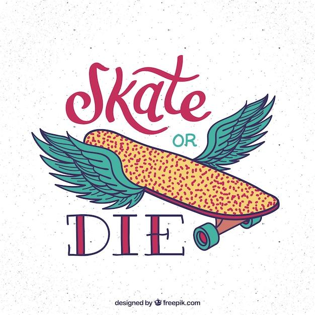 Main skatboard dessiné avec des ailes arrière-plan Vecteur gratuit