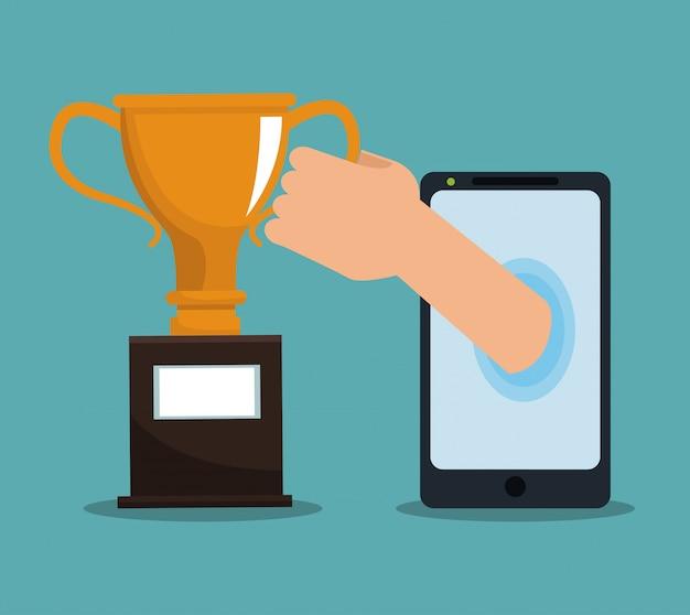 Main sortant du smartphone et attraper la coupe du trophée Vecteur Premium