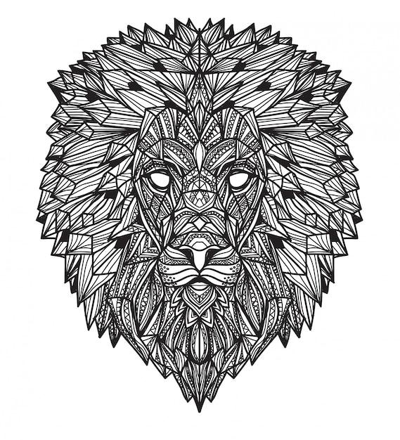 Main de tatouage art lion dessin et croquis en noir et blanc avec illustration art ligne isolée Vecteur Premium