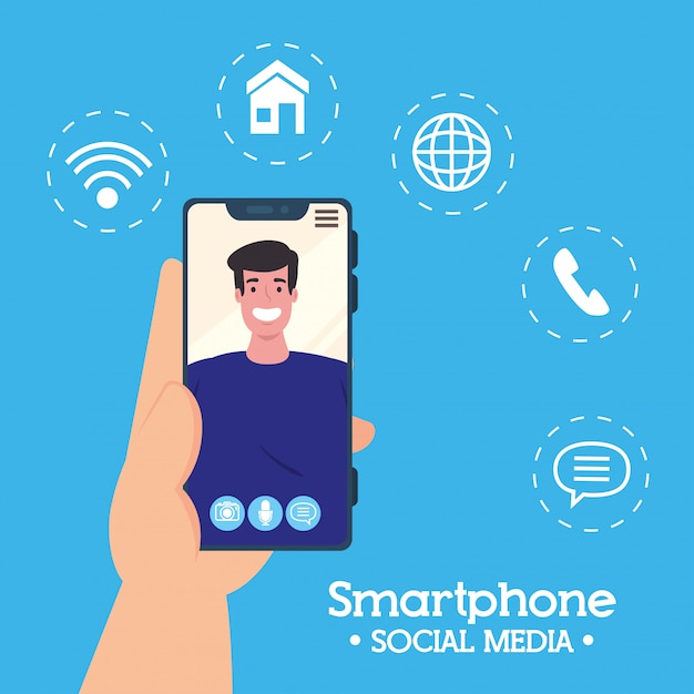 Main Tenant Un Appel Vidéo Smartphone Sur L'écran Avec L'homme, Concept De Médias Sociaux Vecteur Premium
