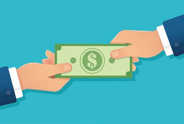 Main Tenant Le Billet D'un Dollar, Mains Donnant De L'argent Vecteur Premium