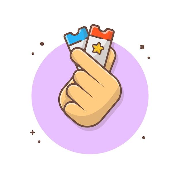 Main Tenant Les Billets Icône Illustration Vecteur Premium