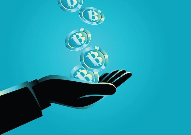 Main tenant des bitcoins Vecteur Premium