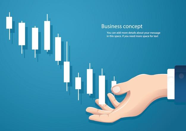 Main tenant un bougeoir graphique fond de vecteur boursier Vecteur Premium