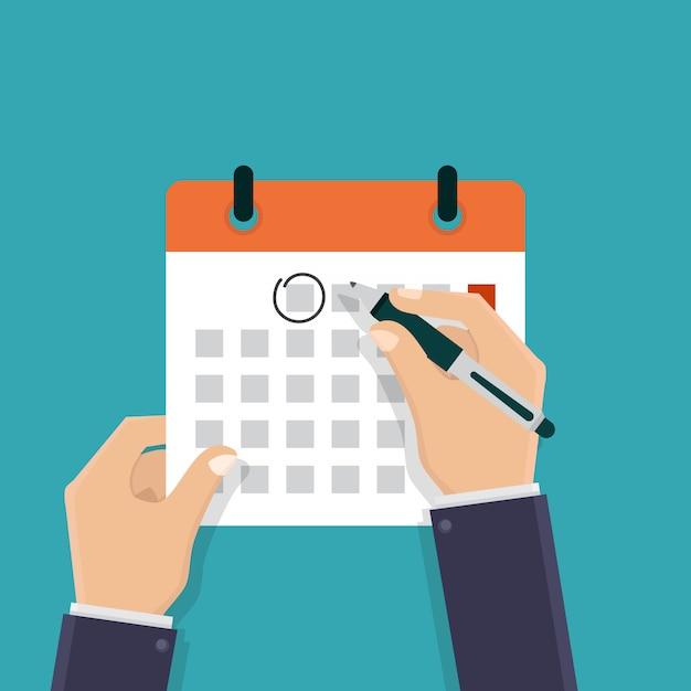 Main tenant un calendrier et un stylo Vecteur Premium