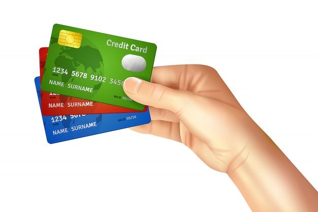 Main tenant des cartes de crédit Vecteur gratuit