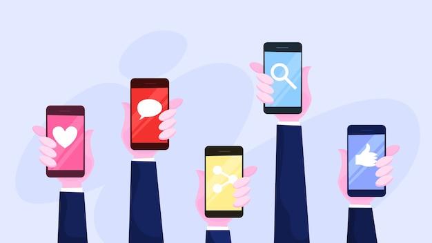 Main Tenant L'ensemble De Téléphone Mobile. Smartphone Avec Icône Vecteur Premium
