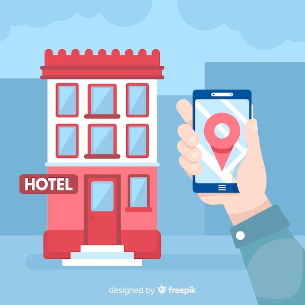 Main tenant fond de réservation d'hôtel de téléphone mobile Vecteur gratuit