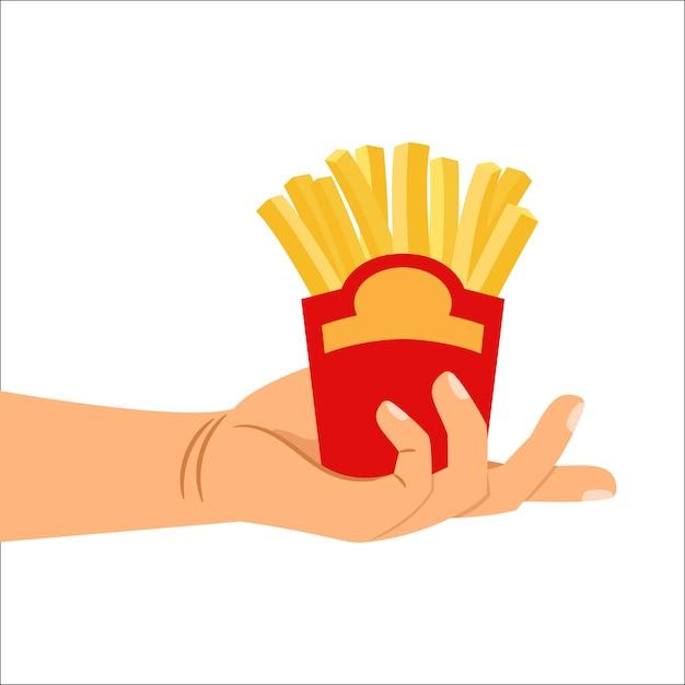 Main tenant des frites Vecteur Premium