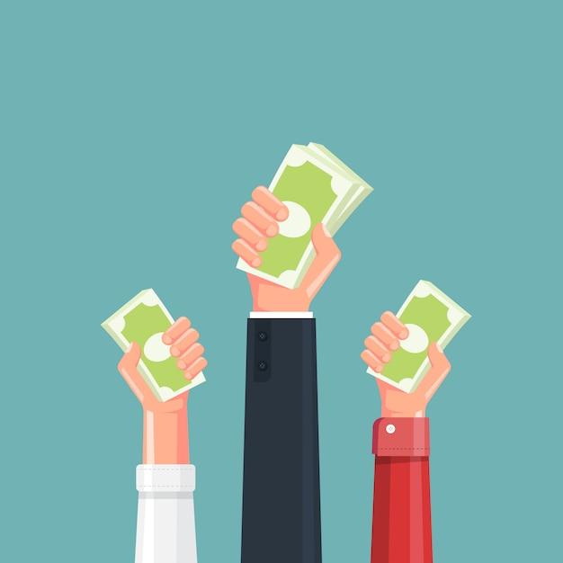 Main Tenant L'illustration De L'argent Vecteur Premium