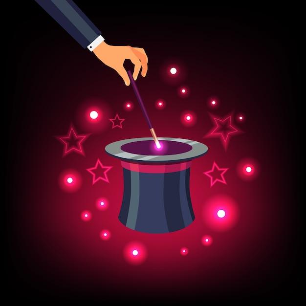 Main tenant la baguette magique sur un chapeau supérieur magique Vecteur gratuit