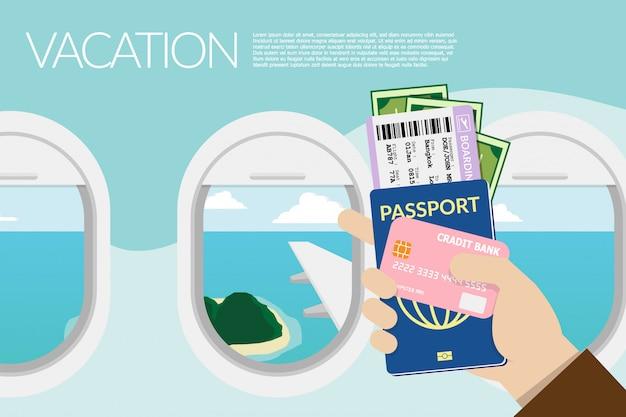 Main tenant un passeport, carte d'embarquement avec vue à l'extérieur de la fenêtre sur l'avion à l'arrière-plan. Vecteur Premium
