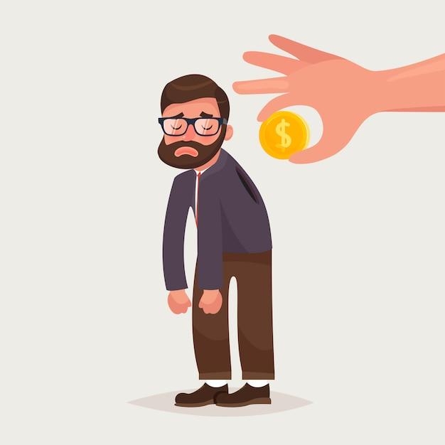 Main tenant la pièce s'insérant dans le dos de l'homme d'affaires Vecteur Premium