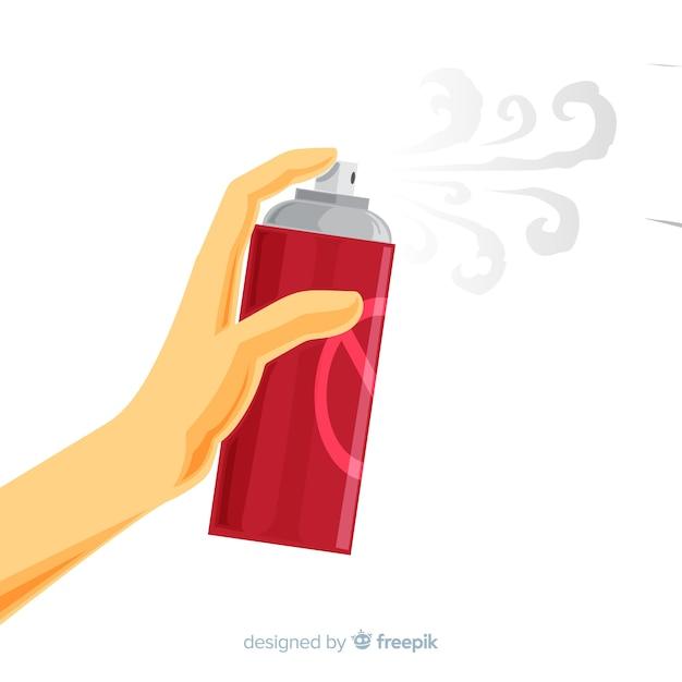 Main tenant spray anti-moustique au design plat Vecteur gratuit