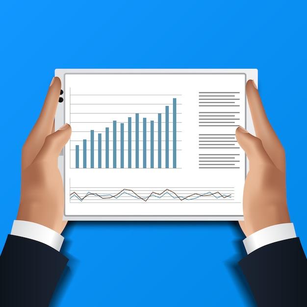 Main tenant la tablette. homme d'affaires lire tableur d'analyse de données pour le rapport financier avec graphique et graphique Vecteur Premium