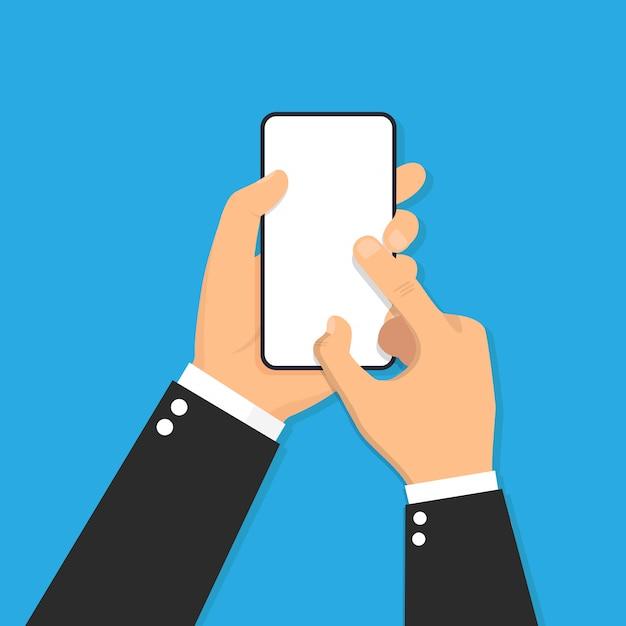 Main Tenant Le Téléphone Intelligent Design Plat Icône Illustration Vecteur Premium
