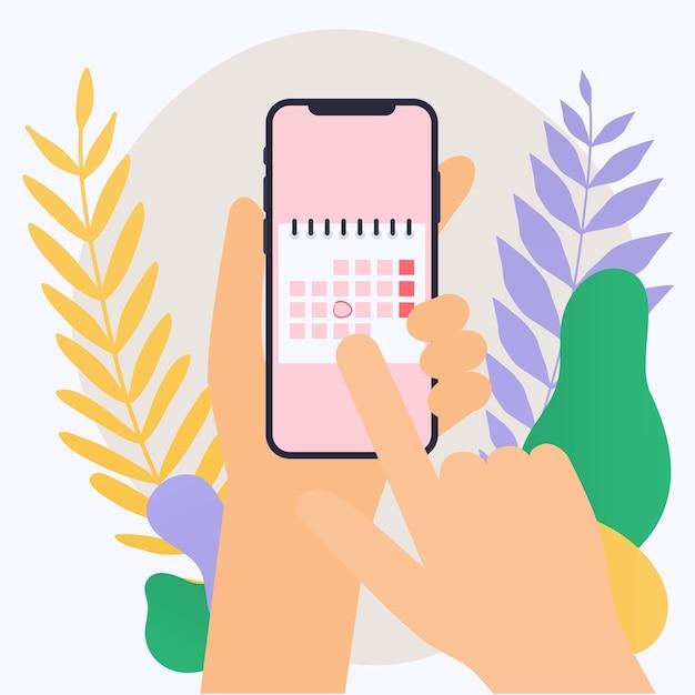 Main Tenant Un Téléphone Intelligent Mobile Avec Plan De Calendrier Vecteur Premium