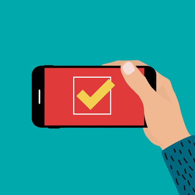 Main Tenant Le Téléphone Mobile Avec Signe De Marque Oui. Vecteur Premium