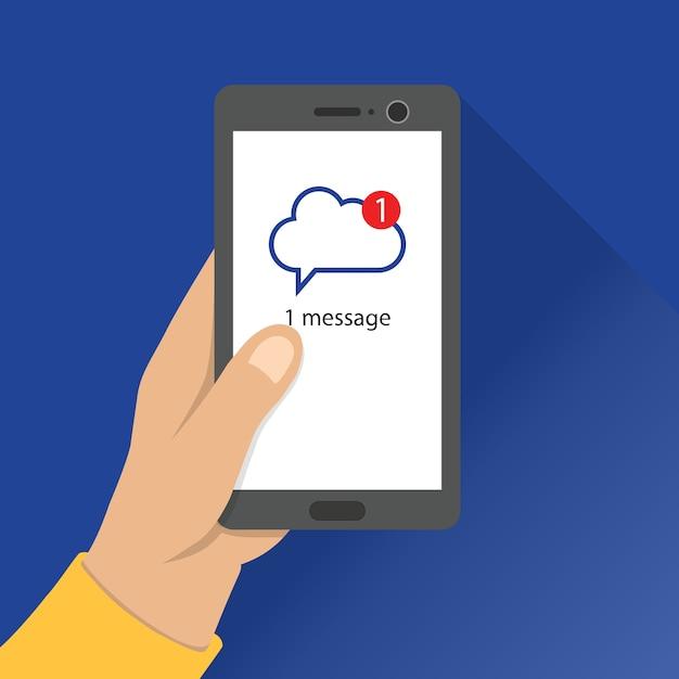 Main Tenir Le Smartphone Avec La Page De Notification De Message à L'écran. Application Informatique En Nuage. Vecteur Premium