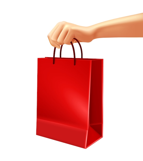 Main, tenue, rouge, sac shopping, illustration Vecteur gratuit