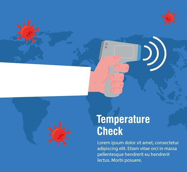 Main Avec Thermomètre Infrarouge Numérique Sans Contact, Carte Du Monde International, Prévention Des Coronavirus 2019 Ncov Vecteur Premium
