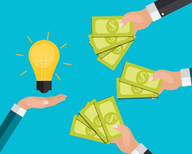 Main Tient L'argent Et L'ampoule. Investir Dans Le Concept D'innovation. Vecteur Premium