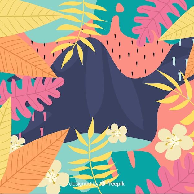 Main tropicale abstraite dessinée Vecteur gratuit