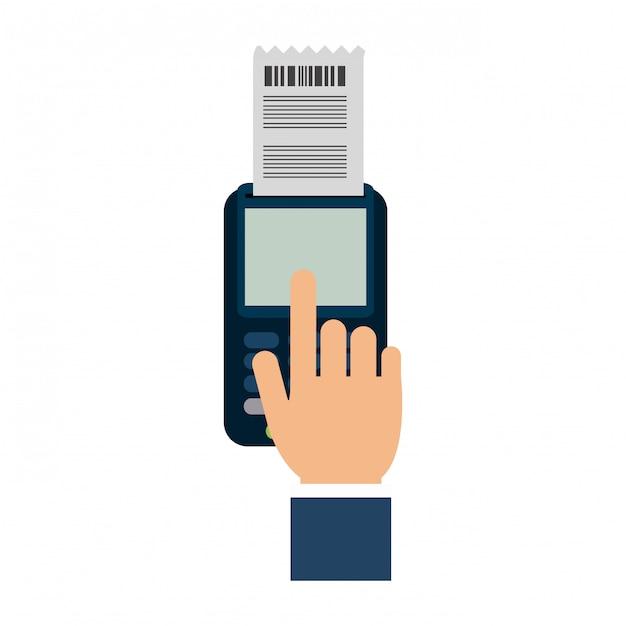 Main en utilisant un lecteur de carte de crédit Vecteur Premium