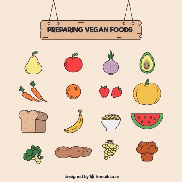 Main végétalien dessiné nourriture ensemble Vecteur gratuit