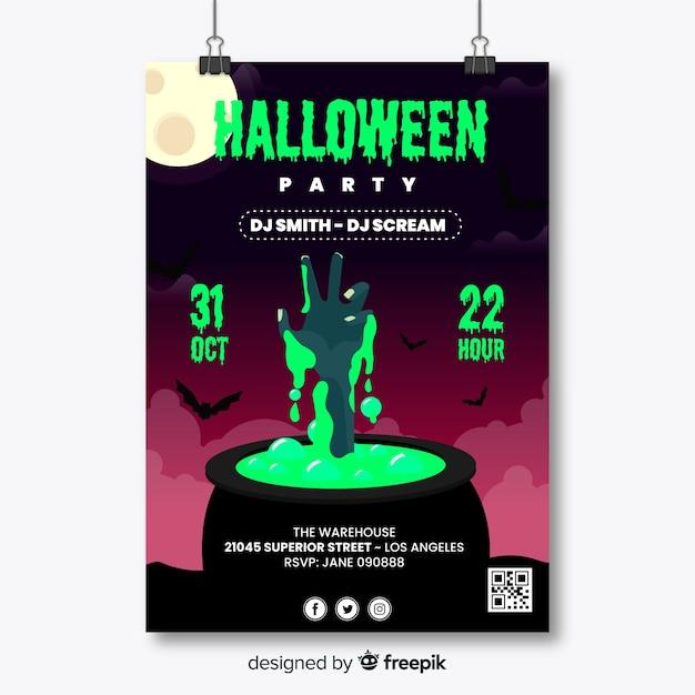 Main de zombie en affiche de fête halloween melting pot Vecteur gratuit