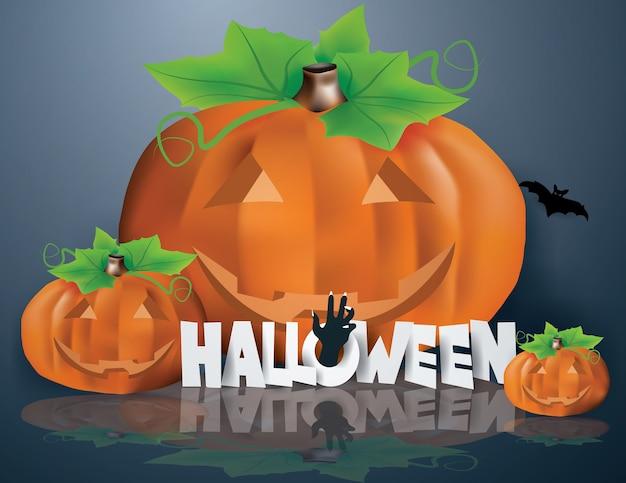 La main de zombie émerge du texte halloween Vecteur Premium