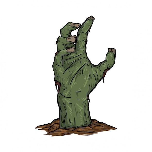 Main de zombie ressuscité de la terre Vecteur Premium
