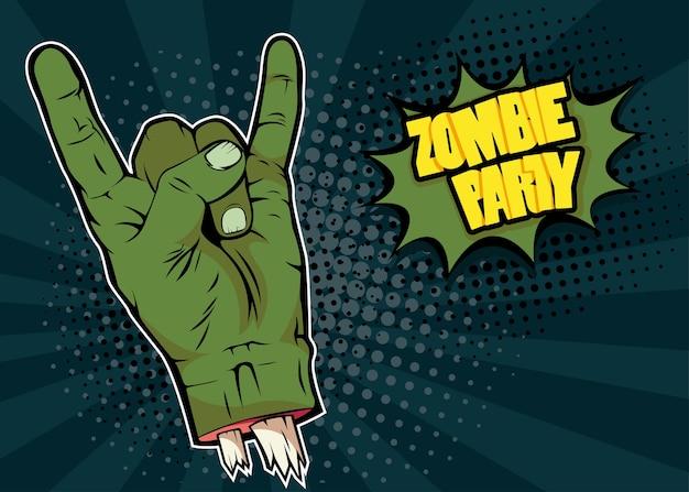 Main de zombie rock n roll et inscription zombie party Vecteur Premium