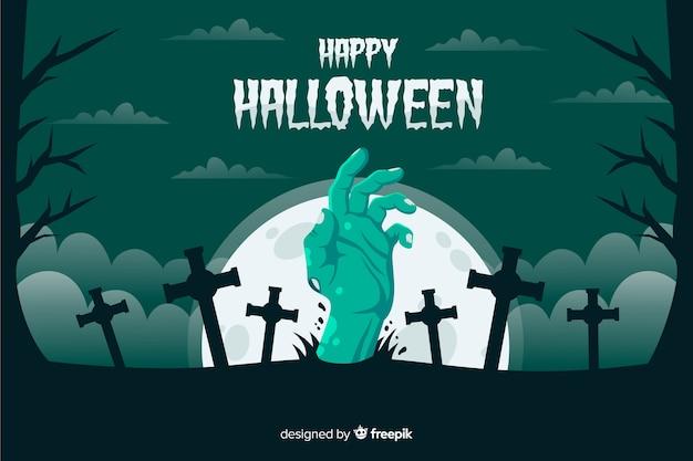 Main de zombie vert avec fond de croix Vecteur gratuit