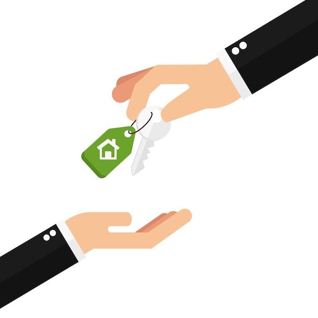 Mains d'affaires donnant des clés Vecteur Premium