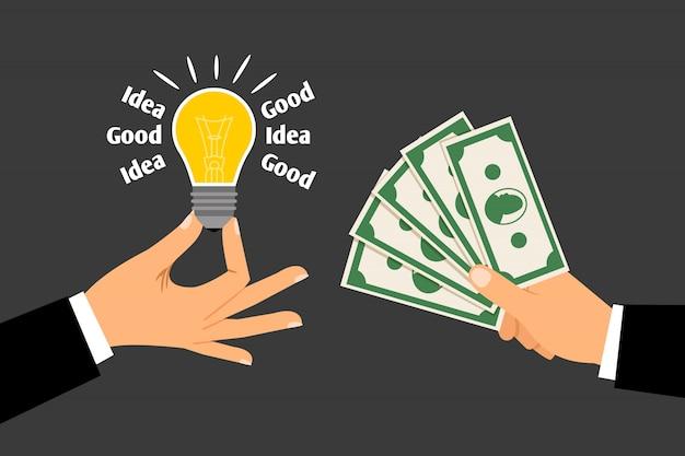 Des mains avec de l'argent et des idées Vecteur Premium