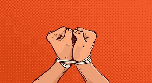 Mains attachées avec une corde isolée esquisse sur vintage pop art Vecteur Premium